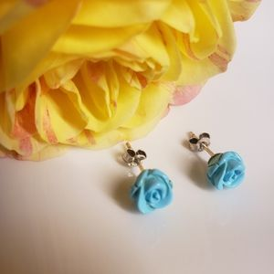 Earrings turquoise rose